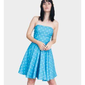 vestido de fiesta corto con lunares palabra de honor